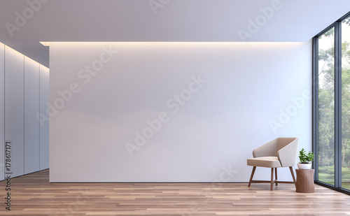 Fototapeta Modern white living minimal style 3d rendering image.The room has wooden floor,There are large window overlooking to the nature obraz