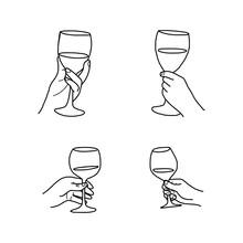 Set Hand Holding Wine Glass Ve...