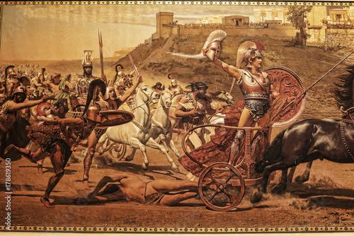 Fotografie, Obraz  Fresco of the battle for Troy on the Greek island of Corfu in the Ionian Islands