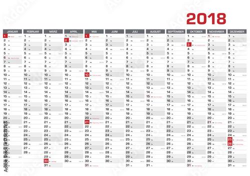 Fototapeta Jahresplaner DIN A1 für 2018  mit KW und Feiertagen obraz na płótnie