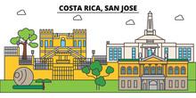Costa Rica, San Jose Outline City Skyline, Linear Illustration, Line Banner, Travel Landmark, Buildings Silhouette,vector