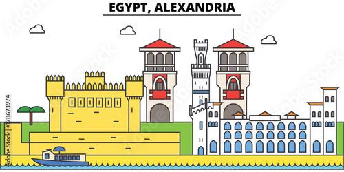 Photo Egypt, Alexandria outline city skyline, linear illustration, line banner, travel