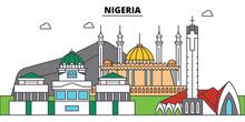 Nigeria Outline City Skyline, Linear Illustration, Line Banner, Travel Landmark, Buildings Silhouette,vector