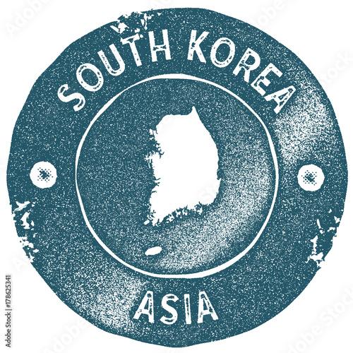 South Korea map vintage stamp Poster