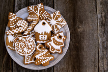 Plate With Christmas Cookies O...