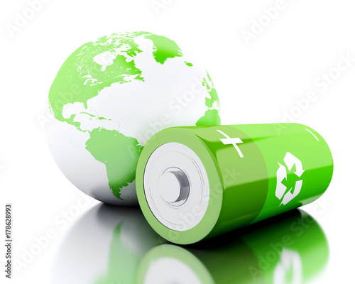 Foto 3d Green battery with recycling symbol and earth globe