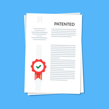 Patented Document With Approved Stamp. Registered Intellectual Property, Idea Of Patent License Certificate. Vector Icon Illustration, Flat Cartoon Paper Doc Isolated On Blue Background.