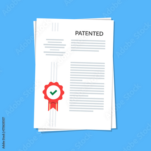 Patented document with approved stamp Canvas Print