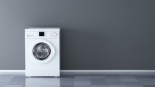 Washing Machine In Room With Blank Wall - 3d Rendering
