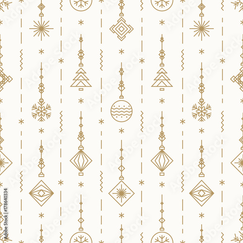 Stoffe zum Nähen Weihnachten-Muster mit Silvester Spielzeug gold Farbe bestehend aus Weihnachtsbaum, Ball, Schneeflocke Art-deco-Stil für Poster, Verkauf, Dekoration, Grußkarten, Produkt-Promotion, Web. Vektor-Illustration