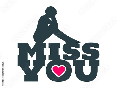 Miss You Text With Heart Icon And Sitting On Them Woman Silhouette