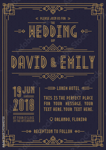 Photo  Wedding invitation card art deco style gold color on cyan background with frame