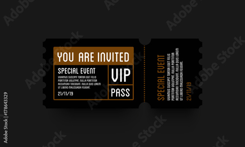 Fotografía  VIP Entry Pass Ticket Stub Design Template