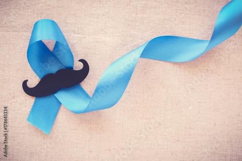 Light blue ribbons with mustache , Prostate Cancer Awareness, Men health awarene Canvas Print