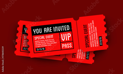 vip entry pass ticket stub design template buy this stock vector