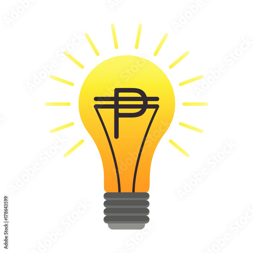 Colorful Vector Lightbulb With Peso Business Idea Flat Finance Latin American Money Symbol