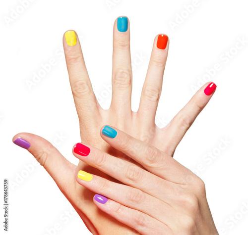 Closeup female hand with  multicolor nails Fototapeta
