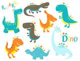 Fototapeta Dinusie - Collection of cute cartoon dinosauros