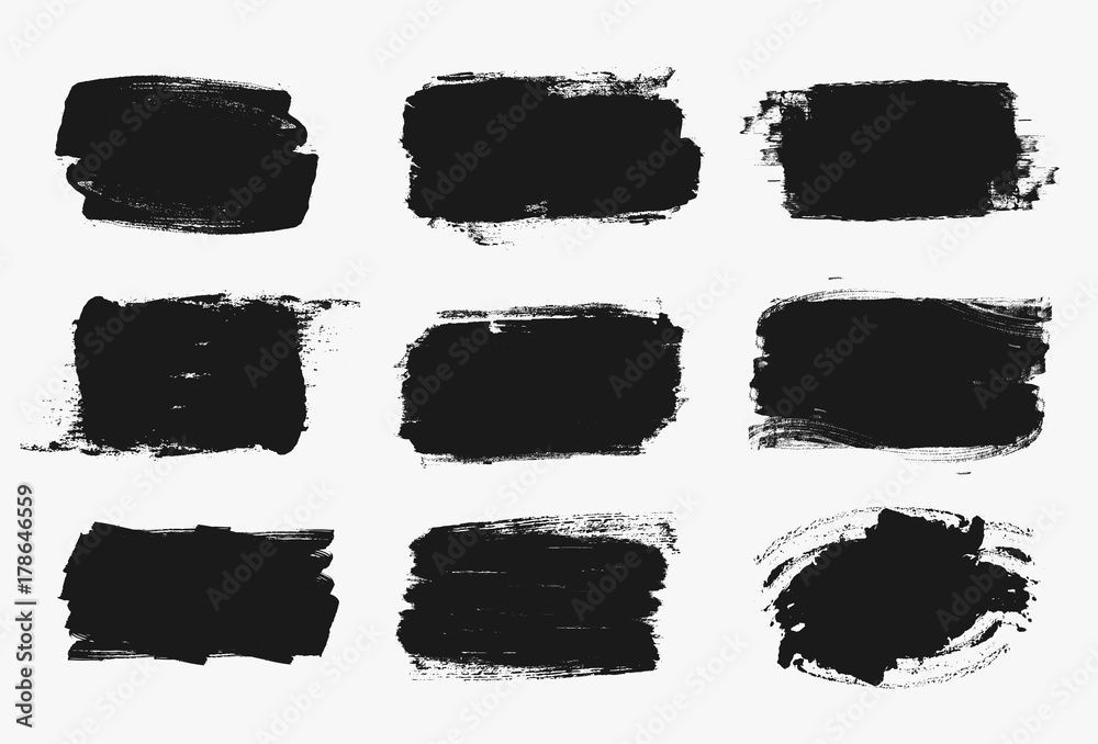 Fototapety, obrazy: Set of black paint, ink brush strokes, brushes, lines. Dirty artistic design elements, boxes, frames for text.
