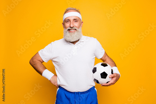 Mature modern cool grey haired funny competetive pensioner, leader, champion. Bodycare, healthcare, weight loss, pride, strength, leadership, motivation, happiness, authority, gym lifestyle