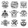 Retro barber shop vector badges. Modern haircut salon labels and hairdresser emblems
