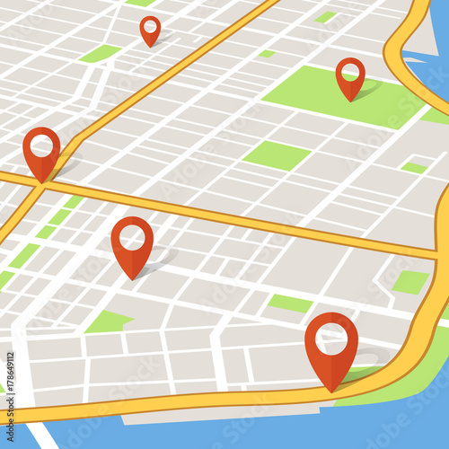 Plakat Perspektywa 3d mapa miasta ze wskaźnikami pin. Abstarct koncepcja nawigacji gps wektor
