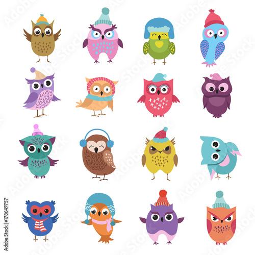 Canvas Prints Owls cartoon Funny winter owls birds cartoon vector characters