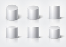White Realistic Cylinder, Empty Stand Round Podium Isolated. 3d Geometric Shapes Vector Set
