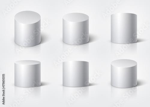 Fotografie, Obraz  White realistic cylinder, empty stand round podium isolated