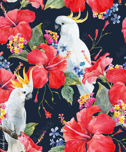 Photo  Watercolor tropical floral pattern