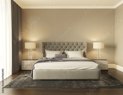 Classic grey luxury modern chic bedroom with tufted bed front view ...