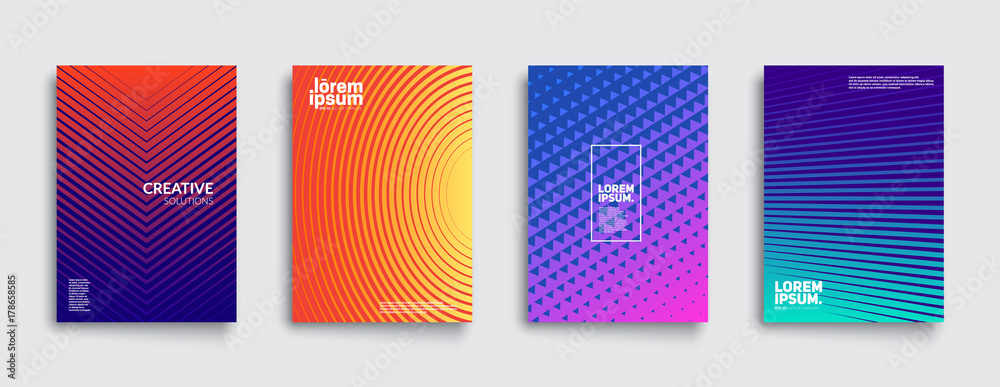 Fototapety, obrazy: Minimal covers design. Cool gradient colors. Geometric halftone gradients. Eps10 vector.
