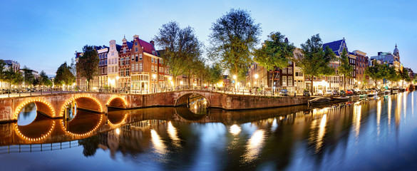 Panorama from Amsterdam in Netherlands at night