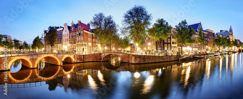 Photo  Panorama from Amsterdam in Netherlands at night