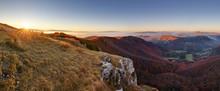 Mountain Panorama With Path From Peak Klak At Autumn, Slovakia