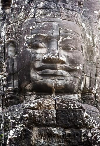 Plakat Buddyjski kamień twarz w świątyni Bayon Angkor Thom