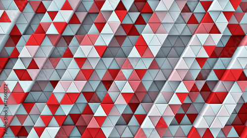 white-and-red-linear-extruded-triangles