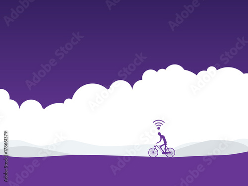 Healthy active lifestyle vector concept with cyclist on a bike in landscape with wifi symbol over his head. Fitness tracker, sport monitor concept.