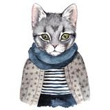 Cute cat . Watercolor hand drawn illustration - 178661538
