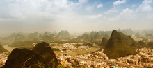 Air View On Yangshuo City With...