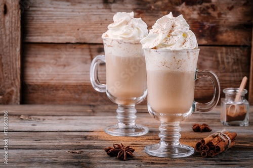 Pumpkin spice latte with whipped cream and cinnamon Tableau sur Toile