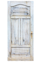 Old Weathered Door With Cracked White Paint