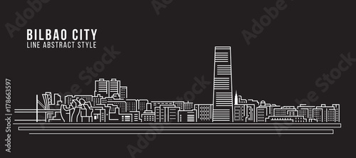Cityscape Building Line art Vector Illustration design - Bilbao city