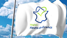 Waving Flag With Logo Of Hauts...