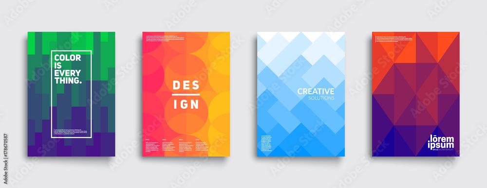 Fototapeta Colorful mosaic covers design. Minimal geometric pattern gradients. Eps10 vector.
