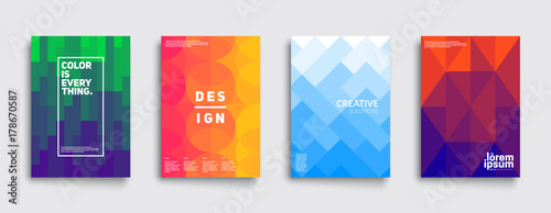Colorful mosaic covers design. Minimal geometric pattern gradients. Eps10 vector.