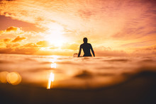 Surfer Woman In Ocean At Sunset Or Sunrise. Winter Surfing In Ocean