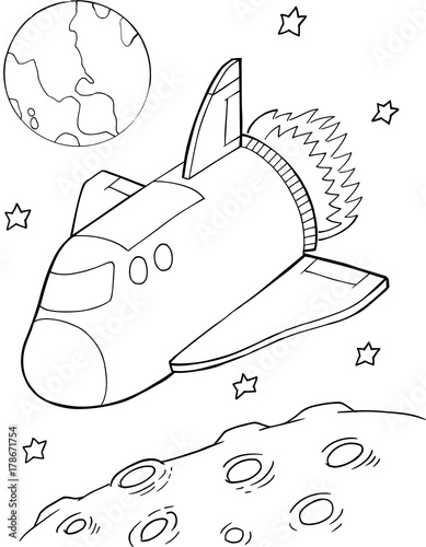 Tuinposter Cartoon draw Cute Space Shuttle Vector Illustration Art