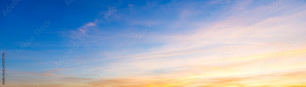 Fototapety, obrazy: Blue and orange sky at sunset