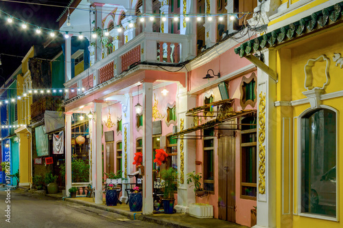 Fotografie, Obraz Small street in old town in Phuket town at evening, Thailand